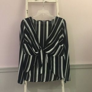Charlotte Russe Striped Front-Tie Blouse